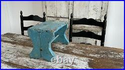 Antique Aafa Folk Art Wooden Milking Stool Robins Egg Blue Alligator Paint Riser