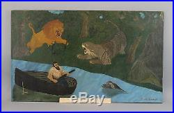 Antique Amede Heroux Early 20thC O/C Folk Art Oil Painting, Hunter, Lion, Tiger