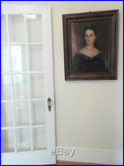 Antique American FOLK Art Pretty Lady Oil Portrait OGEE Wood Frame 1850-60s
