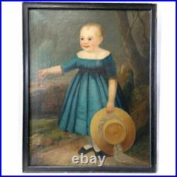 Antique American Folk Art Oil Portrait Painting of a Child in Blue Dress c. 1840