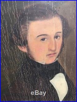 Antique American Folk Art Panel Painting Portrait Paintings