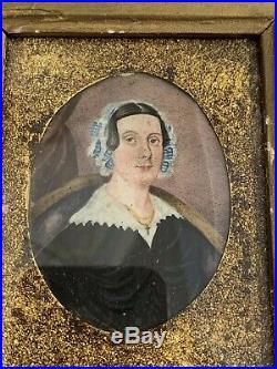 Antique American Folk Art Portrait Miniature Painting Of A Woman Ca 1840s