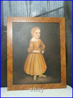 Antique American Folk Art Portrait Oil Painting on Canvas In Wood Frame