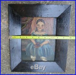 Antique Americana Folk Art Painting Child Girl Signed Jessie N Boyer Pa Artist