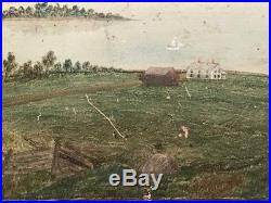 Antique Americana Painting Antique Folk-Naive Landscape Painting 1876