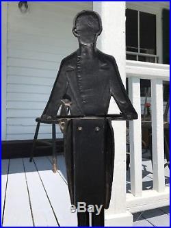 Antique Art Deco Painted Cast Iron Black Butler Sculpture American Folk Art