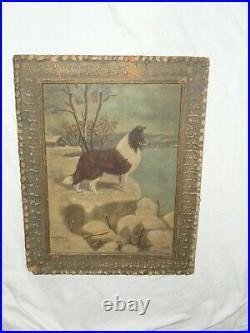 Antique Artist Signed Collie Dog Oil On Board Folk Art Primitive Painting