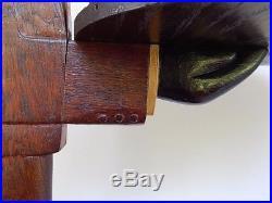 Antique Black Americana Folk Art Carved Oak Butler Stand Ashtray Old Paint 1930s