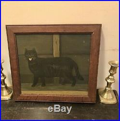 Antique CAT FOLK ART Oil On Board Painting
