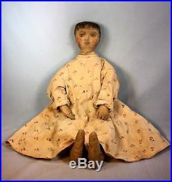Antique Cloth Primitive Folk Art Rag Doll Oil Painted Face Large 28 Sweet