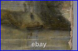 Antique Dutch Theme Folk Art Damaged Oil Painting Unsigned 1885 Stretcher