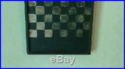 Antique EarlySmall Windsor Green Paint Wood Checker Board Folk Art Handmade AAFA