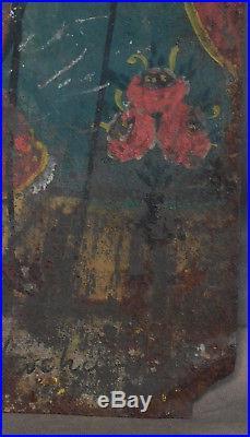Antique Early 1800s Mexican Santo Nino Atocha Painting Tin Retablo Folk Art