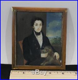 Antique Early 19thC Miniature Folk Art Portrait Painting Young Man & Spaniel Dog