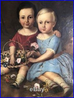 Antique Early American Folk Art Portrait Painting Brother & Sister Boston Mass