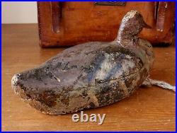 Antique Early Painted Cork Decoy Duck. Wood Beak. Vintage Folk Art Bird
