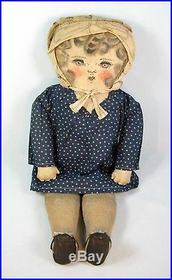 Antique Early Primitive Cloth Folk Art Rag Doll Drawn Oil Painted Face 20