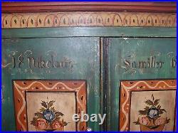Antique European Folk Art Hand Painted Armoire