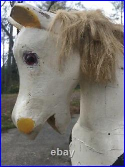 Antique FABULOUS LARGE ANTIQUE FOLK ART Old Paint Wood Glider ROCKING HORSE Vtg
