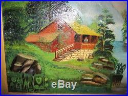 Antique Folk Art 19c American Landscape Cabin on Lake Oil on Canvas c1850