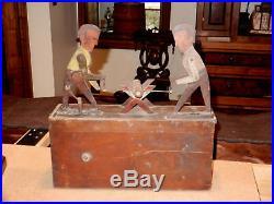 Antique Folk Art Automaton Men Sawing A Log Circa 1900 Original Paint