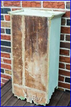 Antique Folk Art Best Old Paint Primitive Medicine Wall Cabinet Mirror Carved