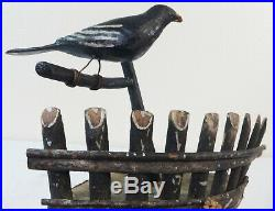 Antique Folk Art Corner Shelf Adirondack Stick withWood Bird on Limb in Paint