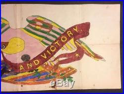 Antique Folk Art Eagle US Grant Banner Fraktur Painting Henry Lapp Lancaster PA