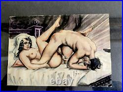 Antique Folk Art Erotic Painting, Circa 1900, Ink, Pencil, Watercolor