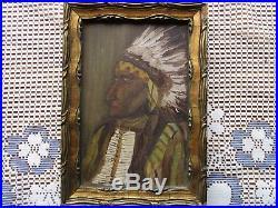 Antique Folk Art Oil on Board Native American Portrait