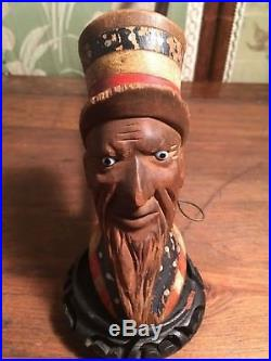 Antique Folk Art Paint Uncle Sam Patriotic Hand Carved Wood Head Pipe Glass Eyes