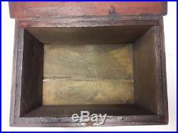 Antique Folk Art Painted Miniature Blanket Chest Document Box