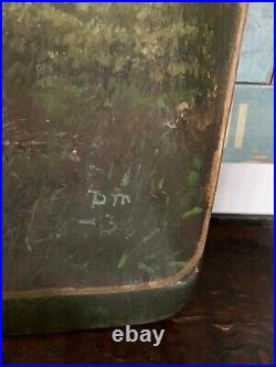 Antique Folk Art Painted Norwegian Norway Wooden Treen Bowl Signed Reduced