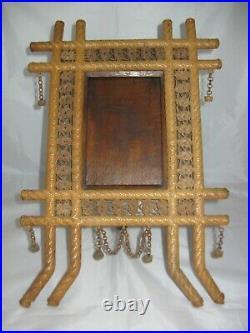 Antique Folk Art Picture Frame, Hand Woven One-Of-A-Kind Tramp Art Primitive