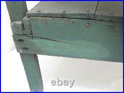 Antique Folk Art Plant Stand / Bucket Bench Old Green Paint 3 Shelves