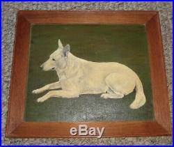 Antique Folk Art Primitive Dog White Shepherd Oil On Board Painting