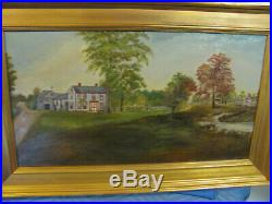 Antique Folk Art Primitive O/C Painting Landscape withEarly House in New England