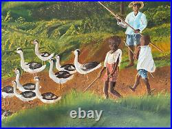 Antique Folk Art Primitive Oil Painting A farmer and children with gooses