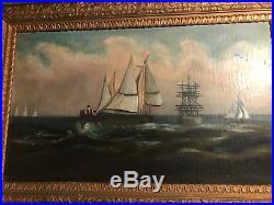 Antique Folk Art Sailing Boats Scene Oil On Board Painting- Framed