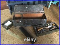 Antique Folk Art Tool Chest With Uncle Sam, Dutch Boy Paintings