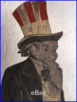 Antique Folk Art Uncle Sam Mailbox Holder in Original Paint Early 20th Century