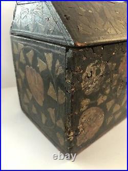 Antique Folk Art Wooden Paint Decorated 18th Century Lock Box