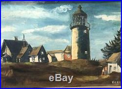 Antique Framed 1916 Oil Painting LIGHTHOUSE Bert Jackson / Nautical Folk Art