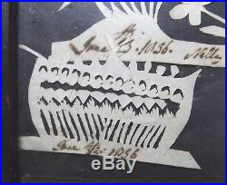Antique Framed Cut Paper Silhouette Picture Folk Art