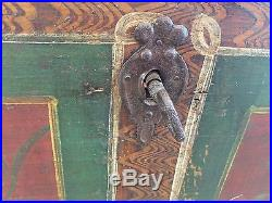 Antique German Dutch Painted folk Art Wedding Trunk primitive chest 1800s PA