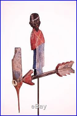 Antique Handmade Carved Painted Folk Art Black Americana Whirligig Weathervane