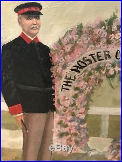Antique Horse & Jockeys Racing Oil Painting Folk Signed Dan W Smith c. 1911 E