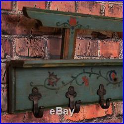 Antique Hungarian Folk Art Painted Wall Rack / Coat Hooks
