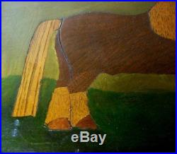 Antique Inlaid Marquetry Shetland Pony Horse Picture Folk Art Primitive Naive