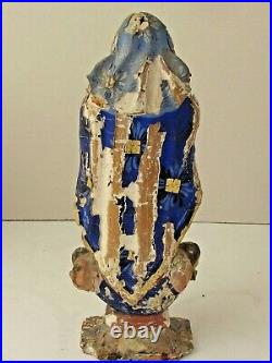 Antique Mexican Maria Santo Figure Hand Carved Original Paint 9 3/4 T 19th c